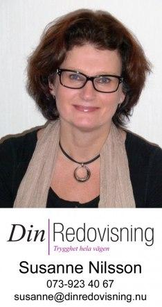 Din Redovisning drivs av Susanne Nilsson, diplomerad redovisningskonsult, med mångårig erfarenhet inom redovisning och skatter.