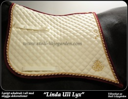 Linda Ull Lyx - Naturvit / vinröd / guld