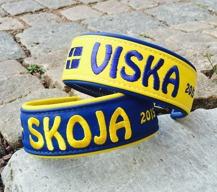 Viska -Gult Skinn med Blå text, Blå baksida. Bredd 4-5 cm Välj Variant, storlek & symboler i meny:n
