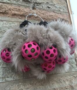 Mjuk gummigallerboll med två pipar i mocka påsar, fårskinn på varje sida om bollen. Kraftigt runt bungee handtag.