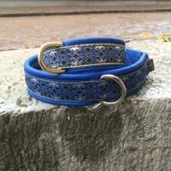 Blått skinn / Stilfullt Alviskt blått band med Guld inslag. Totalbredd 3 cm