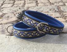Blått skinn / Söta blå blommor med silver & guld -Totalbredd 2,2 cm