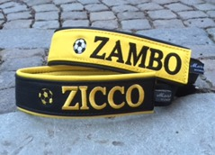 AIK färger Svart/gult eller Gult/svart. Bredd 4-5 cm. Välj variant, storlek & symboler i meny:n