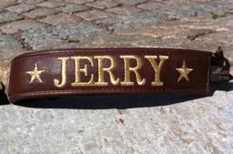 Jerry-Brunt skinn  med guld text. Halsbandets bredd 4 cm. Välj variant, storlek, bredd & symboler i meny:n