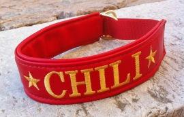 Chili-Rött skinn med Guld text- Halbandets bredd 4 cm. Välj variant, stolek, bredd & symboler i meny:n