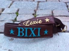 Bixi- Brunt skinn med turkos text. Halsbandets bredd 4 cm. Välj variant, storlek & symboler nedan.