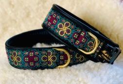 NYHET! Ringblommor i läckra färger. Turkos Lila & Guld mönster. Bredd 4 cm