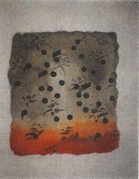 """Sällskapets grafiska blad 1999. Det är en litografi av Stefan Teleman. Det grafiska bladet heter """"Himlakroppar"""" och är tryckt på plåt."""