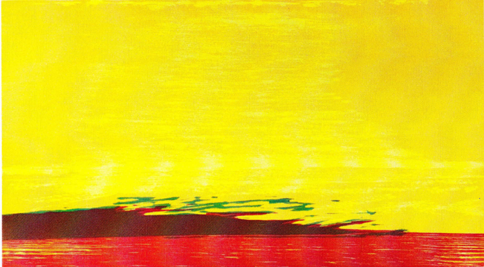 """Bertil Almlöfs grafiska blad - """"Slättens ljus"""" – ett träsnitt med bildmåtten 39 x 22 cm."""