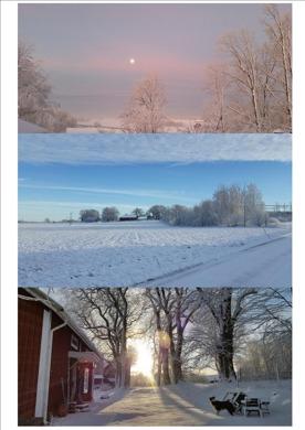 Nu ser vintern ut så här kring vår gård. Helt fantastiska färger att njuta av. Det kan du också göra när du bor i vår lilla stuga.