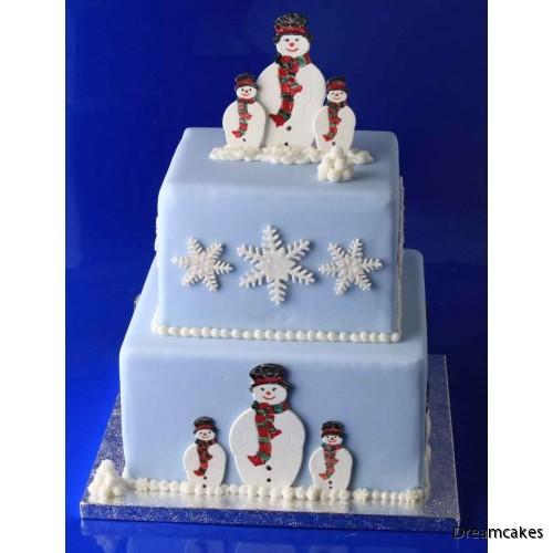 Tårta med snögubbar