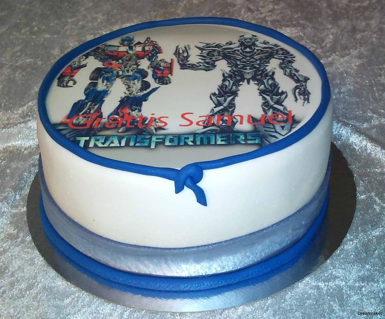 Transformers, tårtbild med eget motiv, foto på tårta, ätbar tårtbild,