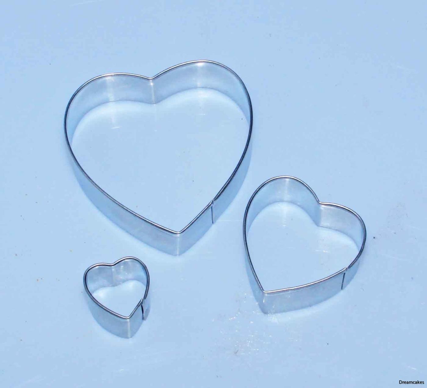 pepparkaksform hjärta i 3-pack, hjärtutstickare i metall