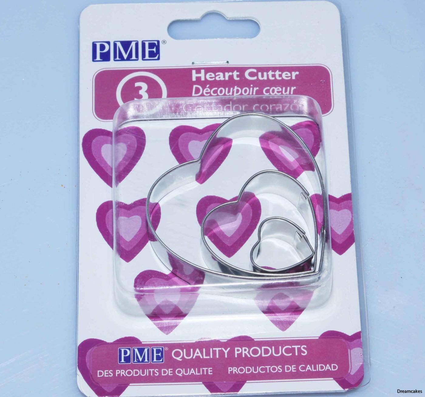 pepparkaksform hjärta i 3-pack, hjärtutstickare i metall, tårtdekorationer, tårtverktyg, hjärttårta