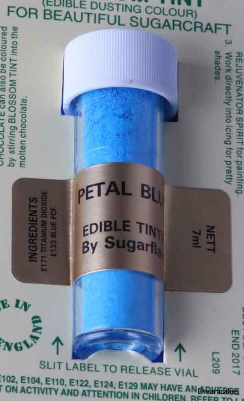 Petal Blue pulverfärg, färga choklad blå, blå pulverfärg, torrborsta blått på tårta