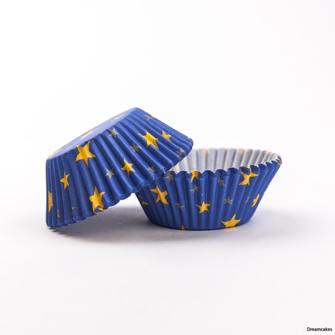 muffinsform med stjärnor, cupcakeform, bullform, blå form med stjärnor-Cups-Pk-60-BC730