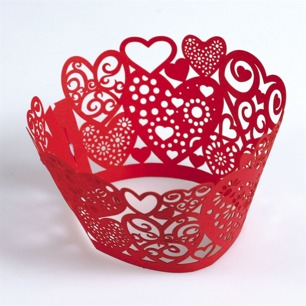 Cupcake Wrap - Lace hearts in red