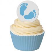Oblatdekor - Blå babyfötter