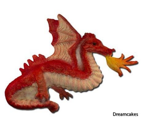 gjutform drake, dragon, sockerpasta, marsipan, sockerkonst