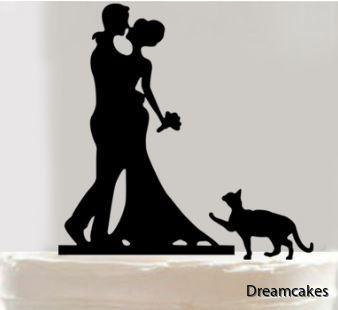caketopper katt, tårtdekoration katt, tårtdekoration bröllopstårta med katt