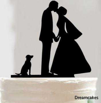 bröllopstårta, topp till bröllop, tårtdekoration för bröllopstårta, brudpar med hund, caketopper för bröllop, tårttop med hund, siluett brudpar med hund