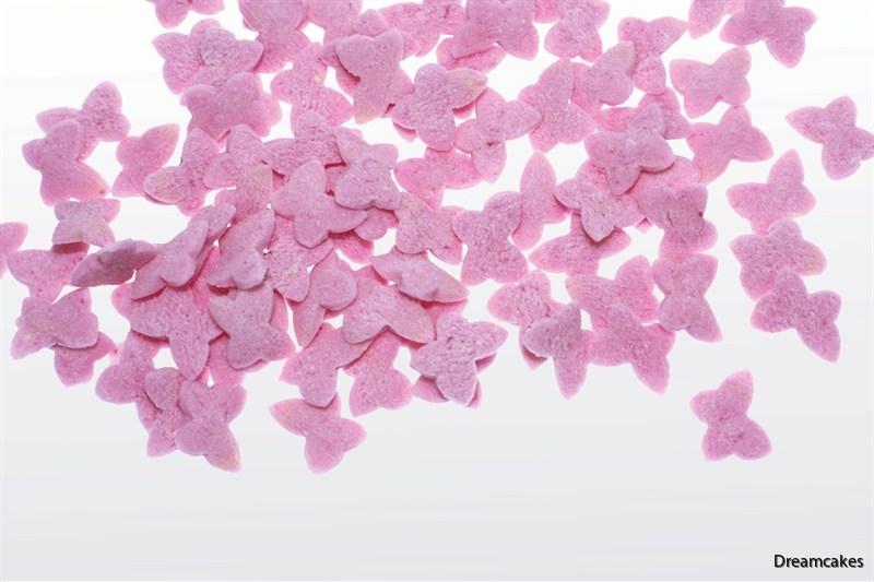 rosa fjärilsströssel, strössel med fjärilar, tårtdekorationer, strössel, fjärilar i socker