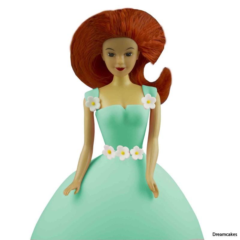 docköverdel till tårta, rödhårig docka till tårta, prinsesstårta överdel, arieltårta,