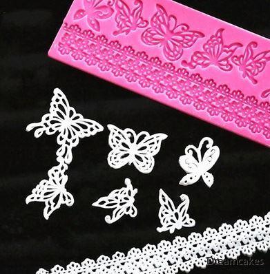 matta för sugarvail, mönstermatta fjärilar, ätbar spets, sugarvailmatta, lacematta med fjärilar och bård