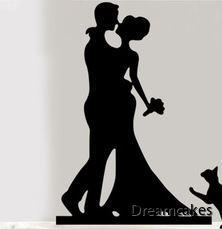brudpar i siluett, svart caketopper för bröllopstårtan
