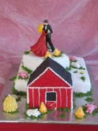 Rolig bröllopstårta med spritsade ladgårdsdjur i bästa lantgårdsstil!