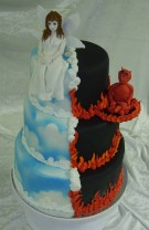 Bröllopstårta som speglar inte bara de goda i ett äktenskap! ;)