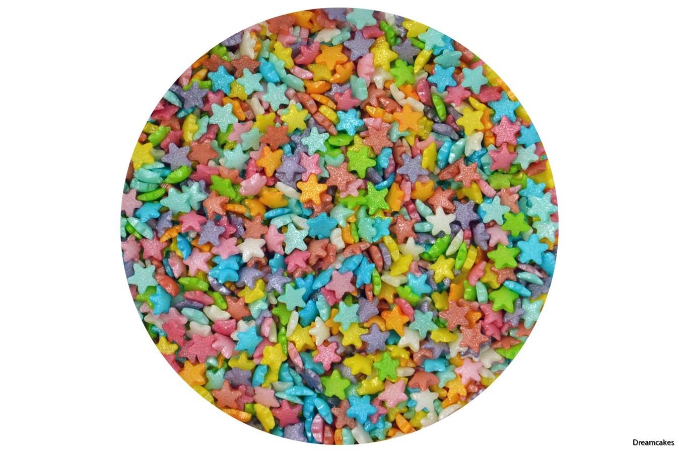 strösselstjärnor i regnbågens alla färger