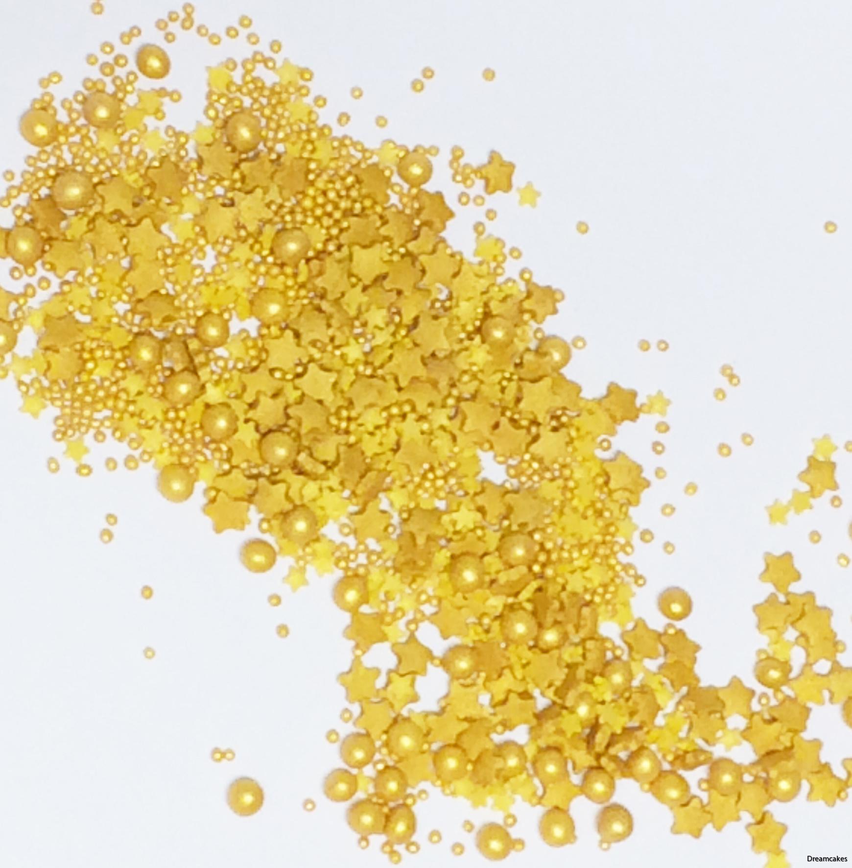 strösselmix med guldstjärnor och guldpärlor för tårta och muffins