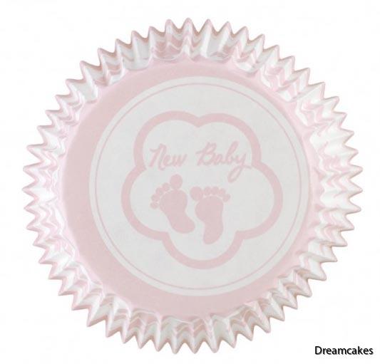Muffinsformar med babyfötter i rosa för dop, namngivning eller babyshower