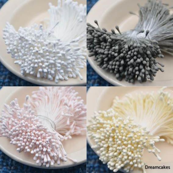 stamens/pistiller i fyra olika färger för sockerblommor