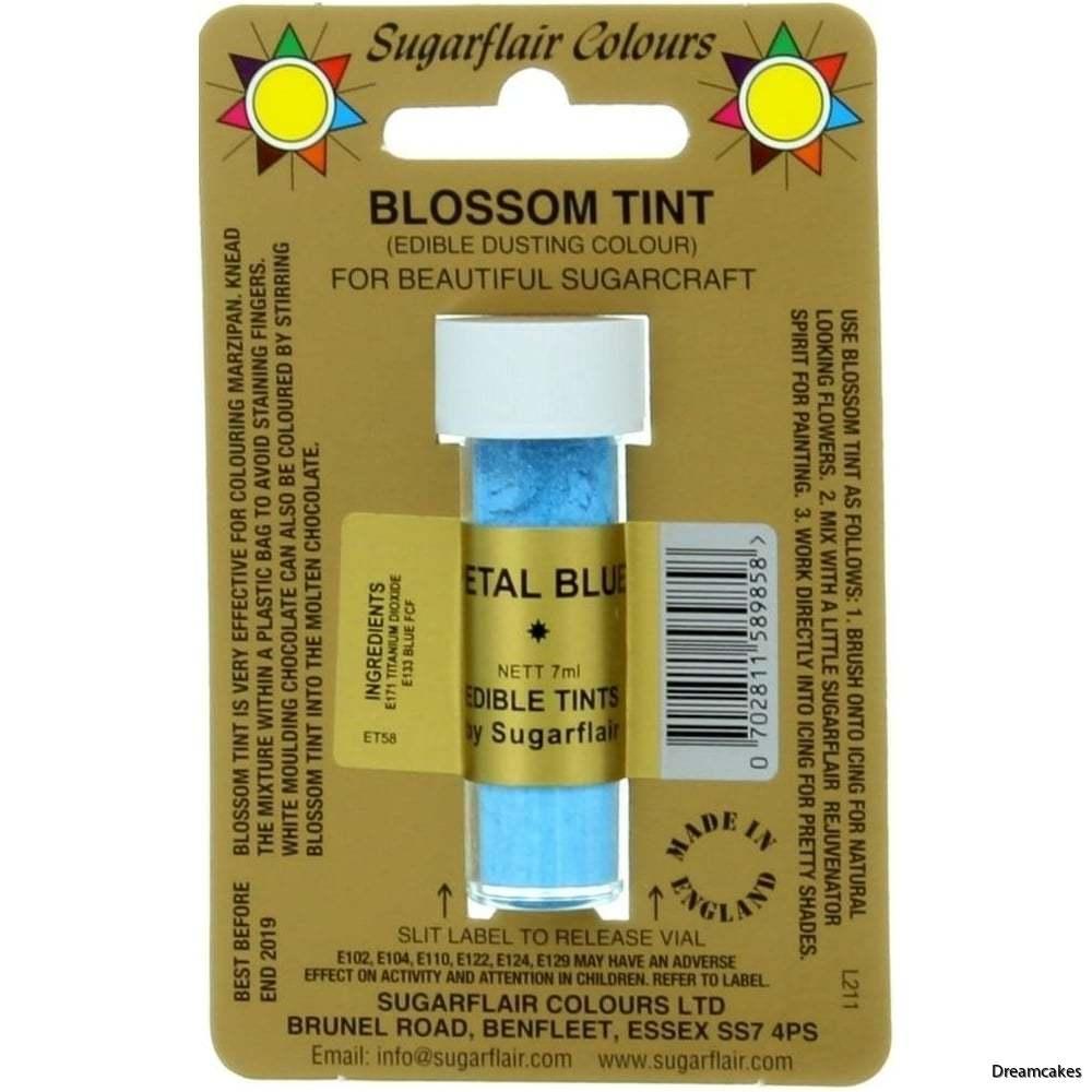 blå pulverfärg för infärgning av choklad eller borstning av sockerblommor