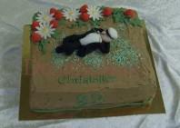 Studenttårta av choklad med ätbara prästkragar och jordgubbar av socker. Modellerad student på toppen.