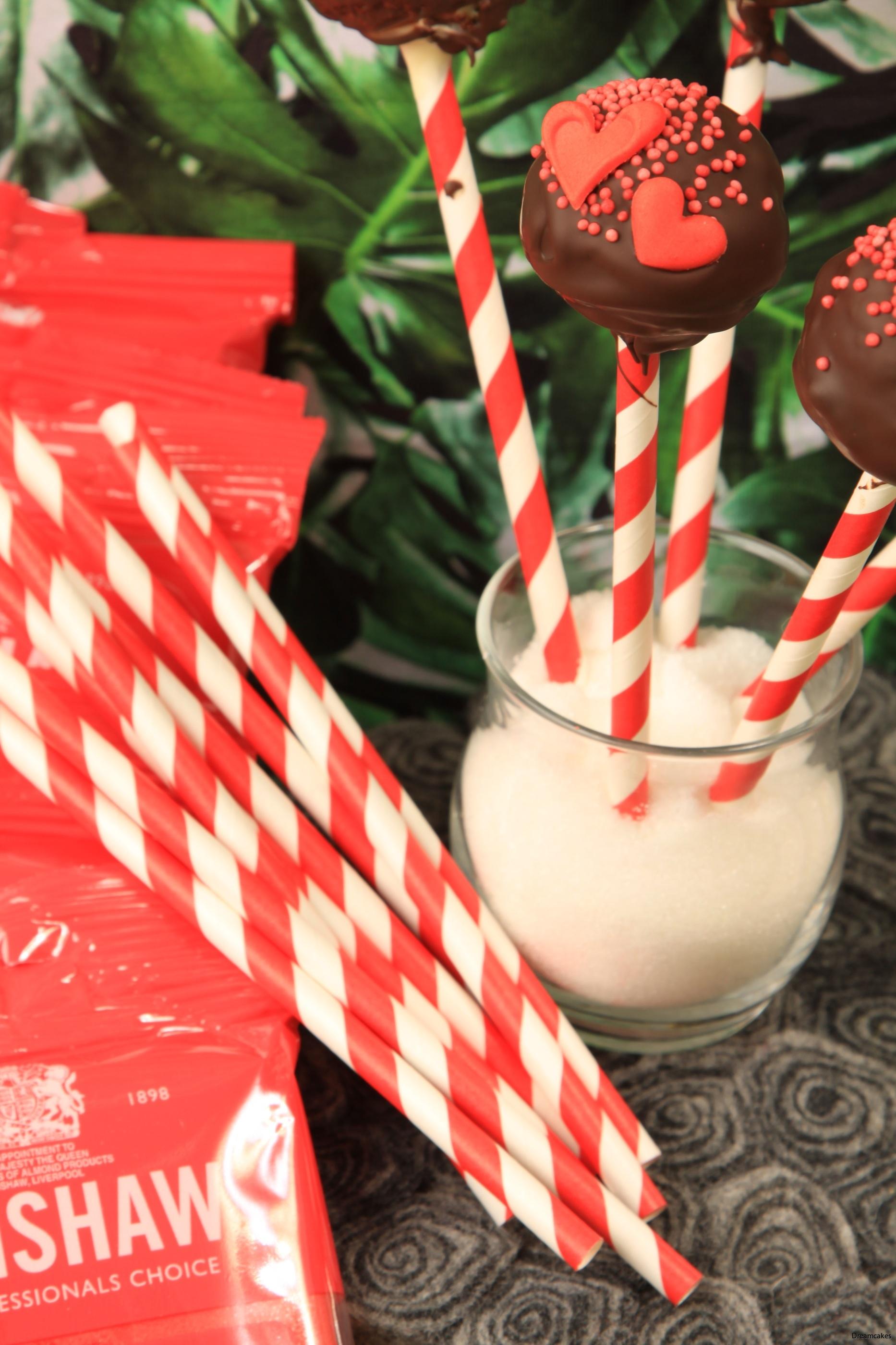 röd/vita cake pops pinnar för fina cakepops