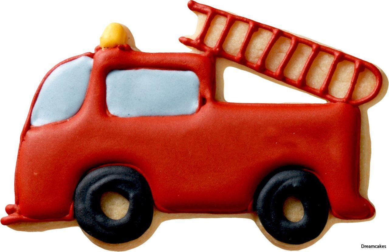 Gör fina kakor som ser ut som brandbilar
