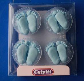 Babyfötter i kristyr. Blå - Babyfötter i kristyr. Blå