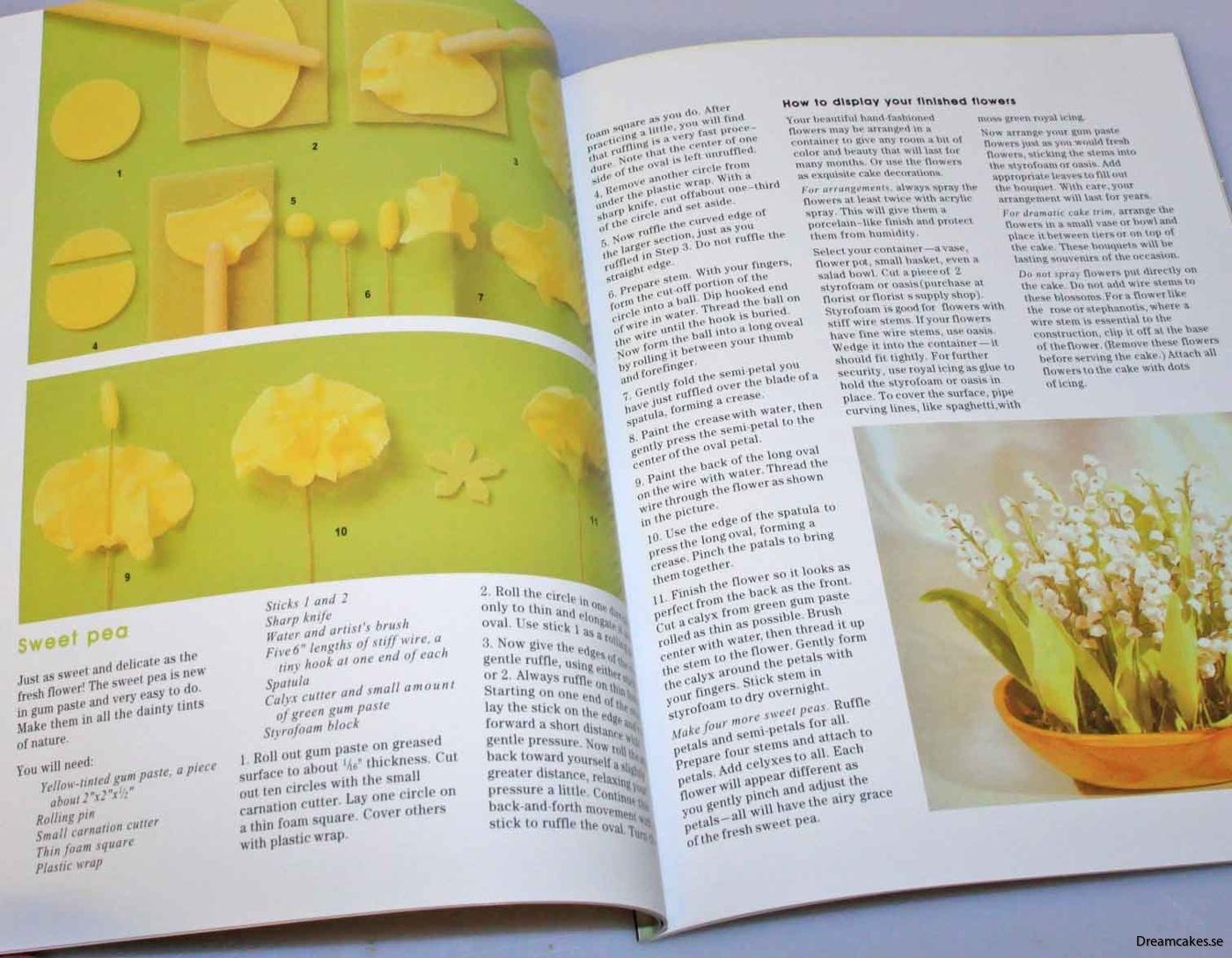 Instruktionsbok medföljer i setet med sockerblommor