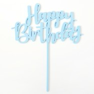 Happy Birthday - caketopper blå
