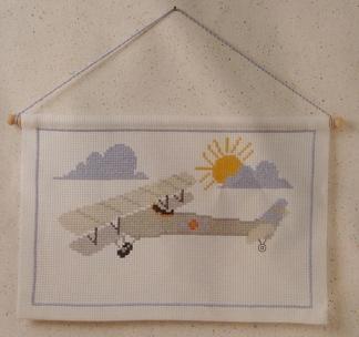 Bonad Flygplan med träkäpp - Bonad Flygplan
