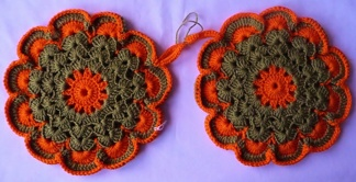 Grytlappar / Pannlappar 2 st Grön/orange - Grytlappar / Pannlappar 2 st Grön/orange