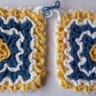 Grytlappar / Pannlappar 2 st Blå vit gul