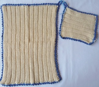 Grytlapp / Pannlapp & handduk 2 st - Grytlapp handduk blå