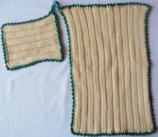 Grytlapp / Pannlapp & handduk 2 st - Grytlapp handduk grön