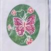 Sidenmåleri kort med kuvert - Sidenmåleri fjäril