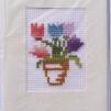 Broderade kort blommor - Tulpaner Blå