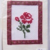 Broderade kort blommor - Röd ros